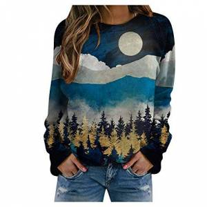 109jie32gorge178 Pullover Print Sweatshirt, Women's Casual Print Sweatshirts Thermal Crewneck Long Sleeve T-Shirts Loose Com, Blouse for Women (Blue L)