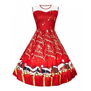 Fanient Women's Print Flared A Line Dress Sleeveless Plus Size Xmas Dresses Red Large