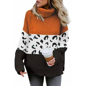 Elapsy Womens Sweaters Color Block Stripes Print Pullovers Cowl Neck Jumpers Loose Fit Tunic Orange X-Large 20 22