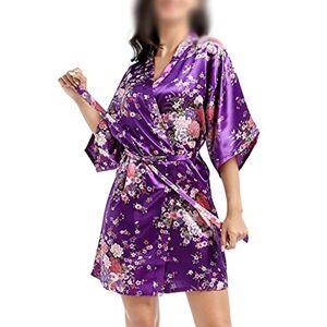 Women's Short Nightgown Summer Loose Sleepwear Simulation Silk Pyjamas Daffodil Cardigan Morning Robe Deep Purple