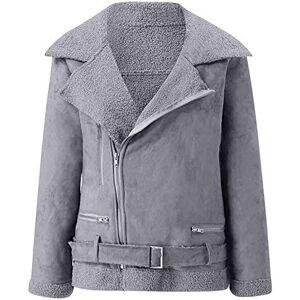 Violett Women Casual Zipper Wide Lapel Fleece Long Sleeve Pure Color Jacket Coat,Gray,Small