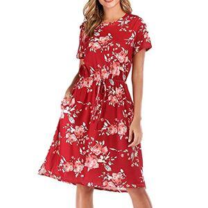 Cloupo Summer Dress Women's Elegant Short Sleeve Crew Neck Knee-Length Flower Dress Beach Dress - Red - M