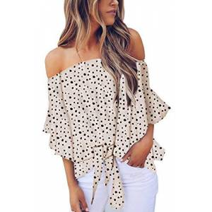GOSOPIN Summer Casual Loose Fitting Tunic Party Tops for Women Plus Size Chiffon Blouse Off The Shoulder Shirt White XX-Large