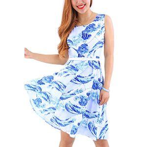 YMING Women's Vintage Dress Rockabily Swing Dress Cocktail Dress Sleeveless Summer Dress Blue Kanagawa Wavess XS/UK 8