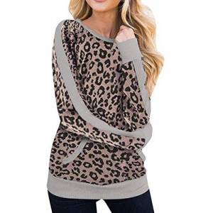 handsome Women Sweater Casual Leopard Print Shirt Long Sleeve Blouse Loose Tops Pullover,Brown,XX-Large