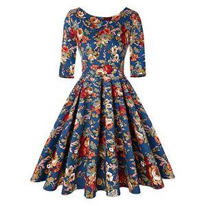Unifizz Women's Floral Evening Party Dress Elegant Navy Blue Vintage Dress (Floral Navy Blue,Size M)