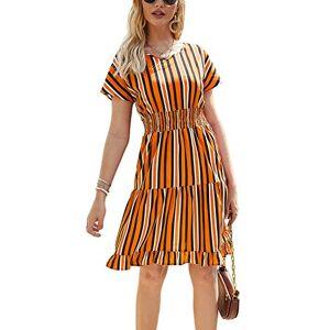 Yieune Summer Dress for Women V Neck Striped Casual Short Sleeve Beach Knee Length Dress (Orange M)