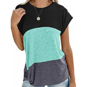 iChunhua Summer Short Sleeve Ladies Tops Round Neck Triple Color Block Stripe T-Shirts Casual Blouse Green X-Large