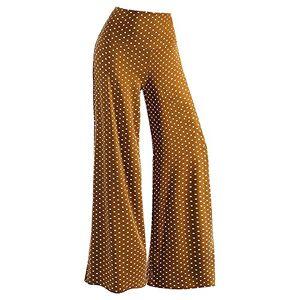 Kalorywee Leggings KaloryWee Womens Plus Size Dot Floral Print Palazzo Trousers Ladies Flared Wide Leg Pants Stretch 6-20 Brown