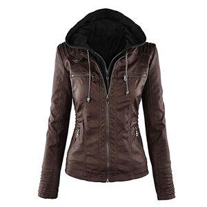 Tribangke Women's Hooded Faux Leather Motorcycle Jacket Detachable Full Zipper Outerwear (Dark Brown, UK 4)