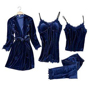 Nightdresses Loungewear Set Lightweight Dressing Gown Ladies Trim Sexy Casual Pyjamas Set Lace Soft Lingerie Sets Sleepwear Womens Dressing Gown (Navy Blue, XL)