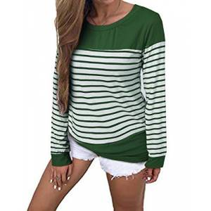 CNFIO Womens Long Sleeve Round Neck T Shirts Color Block Striped Casual Blouses Tops Green 2X-Large/UK 18