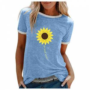 VEMOW Women's T-Shirt Round Neck Short Sleeve Solid Color Tops Fashion Sunflower Print Blouses Summer Tee
