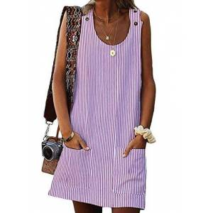 Elapsy Womens Casual Tank Dress Camisole Striped Tunic Mini Dresses Pink X-Large 18 20