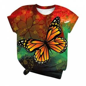 jieGorge Casual Blouse for Women, Plus Size Women Short Sleeve 3D Butterfly Printed O-Neck Tops Tee T-Shirt Blouse, Women Tops Multicolor 3X-Large