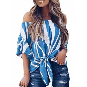Aleumdr Womens Striped Casual Off Shoulder Bell Sleeve Blouses Tops Tie Knot Casual T-Shirts for Work OL Blue XX-Large
