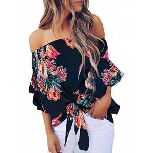 Reukree Women's Floral Off The Shoulder Tie Front High Low 3/4 Flare Sleeve Blouses Strapless Tops Casual Tshirts Oxford Blue Large