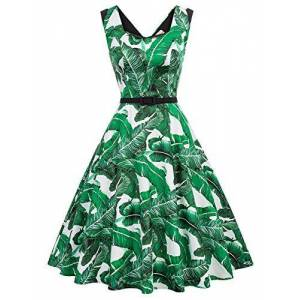 Women 1960s Sleeveless Belt Decorated Flared A-Line Cotton Dress Floral-2 Large