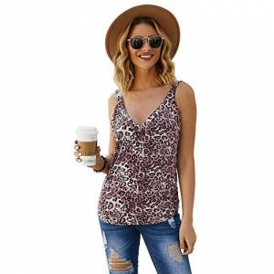 FJPTREN Summer Women's Casual Tank Tops, Leopard Animal Print Camisole V Neck Sleeveless Shirts Blouses Red
