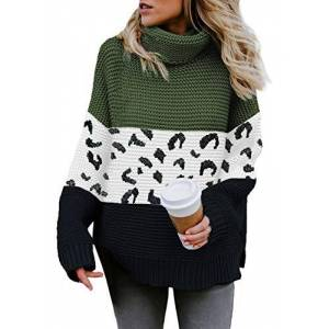 Elapsy Womens Stripes Printed Pullover Tops Cowl Neck Jumper Tunic Kangaroo Sweaters Green Large 16 18