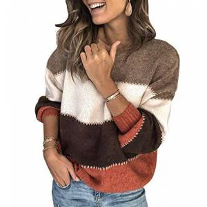 Oversized Knit Jumper Women Baggy Pullover Jumpers for Women Ladies Crew Neck Striped Knitted Jumper Sweaters Women Top Sweater Loose Cosy Casual Thick Large Chunky Plus Size Trendy Warm Orange M