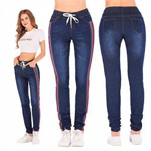 HOSD Women Large Size Stretch Plus Loose Denim Jeans Elastic Plus Casual Drawstring Cropped Women's Nine Points Cargo Jeans Autumn Blue