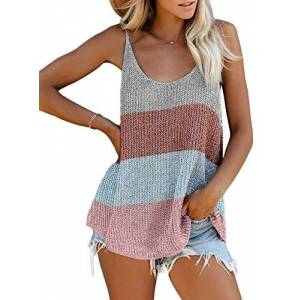 Arainlo Women's Scoop Neck Tank Tops Strappy Tunic Summer Spaghetti Straps Camisole Sleeveless Vest Blouse Multicolour - Stripes Large, UK Size 14-16