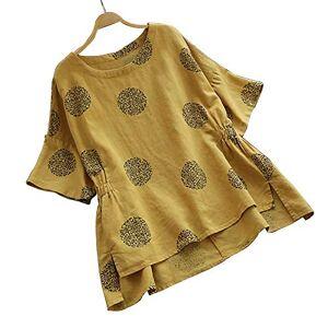 LLZ.COQUE Women Plus Size Vintage Blouse Dot Print O-Neck T-Shirt Tops Ladies' Summer Short Sleeved Loose Cotton Shirt for UK 22-24, Yellow