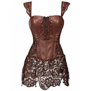 Women Overbust Boned Corset Dress Bustier Basques Faux Leather Lace Up Brown UK Size 6-8