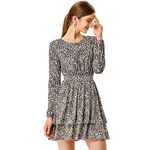 Allegra K Women's Leopard Print Long Sleeve Smock Waist Layered Ruffle Hem Dress Pink X-Large