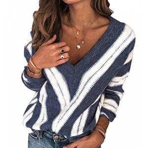 Vneck Striped Knit Jumper for Women V Neck Jumpers Womens Ladies Oversized Knitted Jumper Pullover Sweaters Women Top Sweater Loose Cosy Casual Thick Large Chunky Plus Size Trendy Warm Blue M