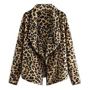 AiMei Women Long Sleeve Open Front Lapel Fuzzy Leopard Print Cardigan Coat,1,Medium