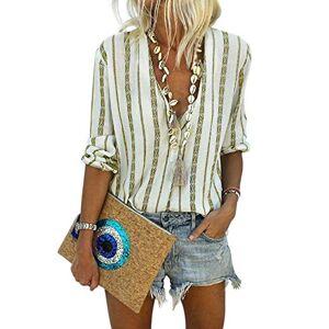 ELF QUEEN Women's Striped Deep V Neck Shirt Women Long Sleeve Button Up Blouse Eyelet Blouse Yellow X-Large