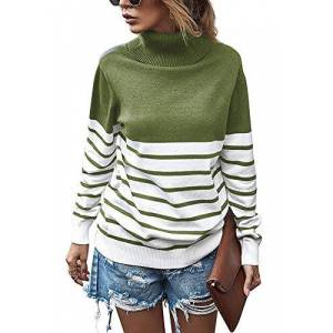 Yidarton Women's Casual Striped Color Block Long Sleeve Tops Fall Winter Pullover Chunky Knitted Turtleneck Sweater Jumper (537-ArmyGreen, X-Large)