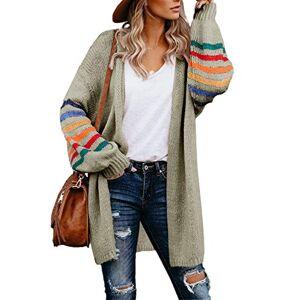 HIKARO Amazon Brand Women Sweaters Casual Knitted Loog Sleeve Cardigan Khaki