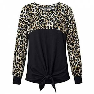 Jubaton Women's Tops Fashion Personality Leopard Print Classic Round Neck Loose Casual Long Sleeve Pullover T-Shirt Large Black