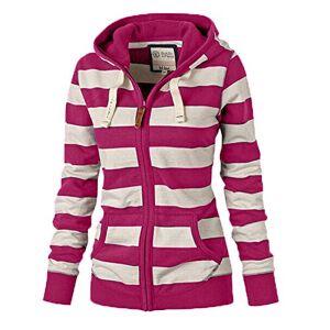 Womens Hoodies Clothes Stripe Zipper Casual Sweatshirts Tops Hooded Coat Jacket Jumper Rose