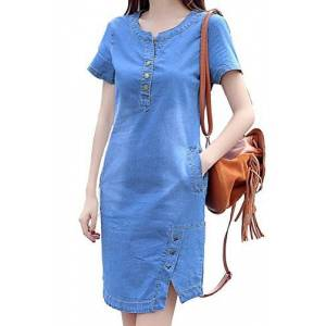 Women Summer Casual Short Sleeve A-line Denim Dress Jean Dresses Blue XL