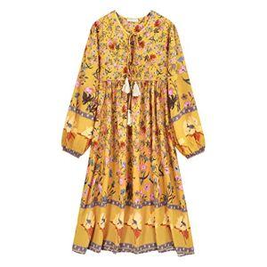 R.Vivimos Women's Casual Bohemian Print Neck Tie Long Sleeve Beach Style Long Midi Dress Vocation Dress (Large, Goldenrod)