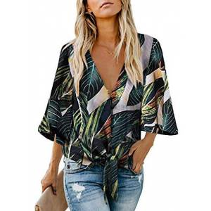 GOSOPIN Womens Summer Tropical Print Button Down V Neck Tops Bell Sleeve Chiffon Blouses Casual Loose Tie Knot T-Shirt Multicoloured Plus Size UK 20 22