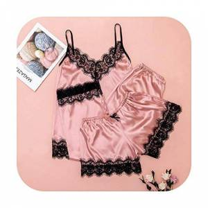 Candy Sleepwear 3PC Women Set Nightwear Set Lace Satin Lingerie Camisole Bow Trousers Casual Pajamas Nuisette #2M12-Pink-S