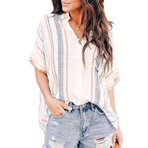 GOSOPIN Womens Plus Summer Short Sleeve Blouse Shirts Ladies Casual Loose Striped Button Up Tunic Tops Orange UK 22