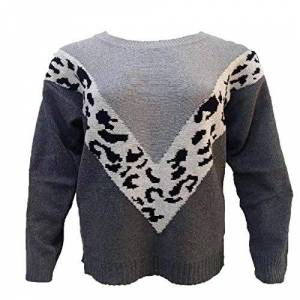 Jubaton Fall/Winter Women's Blouse Fashion Round Neck Stitching Leopard Print Loose Casual Long-Sleeved Sweater 5X-Large Gray