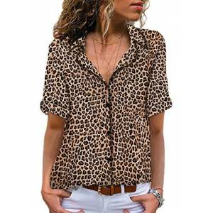 GOSOPIN Summer Tops for Women Plus Size Casual V Neck Button Down Shirt Short Sleeves Blouse Leopard Print Tee Tunics UK 22