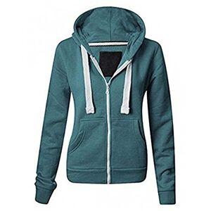 Womens Plain Hoodie Plus Sizes Hooded Zip Zipper SweatShirts Jackets Coat 8-22 (3XL (UK 18), Teal)