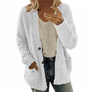 Gofodn Women Coats and Jackets Winter Warm Sale Casual Plus Size Button Solid Plush Pocket Long Sleeve Cardigan Tops Blouse White