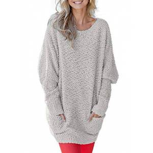 Elapsy Womens Sweater Dresses Crew Neck Fuzzy Knit Loose Pullover Sweater Tops Grey X-Large 20 22