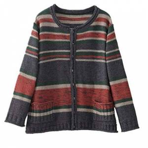 N\P Cotton Casual Striped Thick Short Ladies Long-Sleeved Sweater Round Neck Large Size Cardigan Red