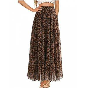 L'VOW Women's Elastic Leopard Print Watercolor Maxi Skirt High Waisted Dress Pleated Shirring - brown - Large