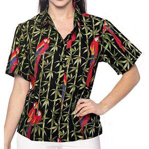 LA LEELA Cotton Women's Hawaiian Shirt Blouse Top Short Sleeve Casual Work Shirt Regular Wear Plus Size Uniform Aloha XL-UK Size:22-24 Green_X8